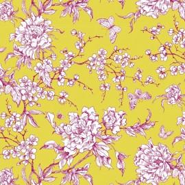 Tissu coton enduit Rico design Fleur de cerisier - anis x 10cm