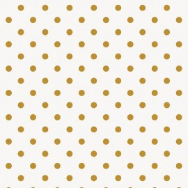 Rico design coated cotton fabric Pois - doré/blanc x 10cm