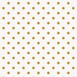 Tissu coton enduit mat Rico design Pois - doré/blanc x 10cm