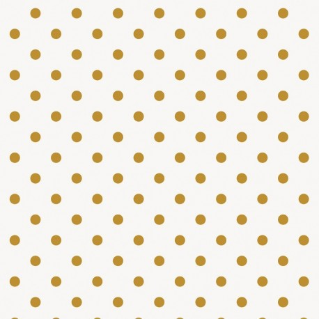 Rico design coated cotton fabric Pois - doré/blanc x 10cm