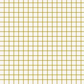 Tissu coton enduit mat Rico design Petits carreaux - doré/blanc x 10cm