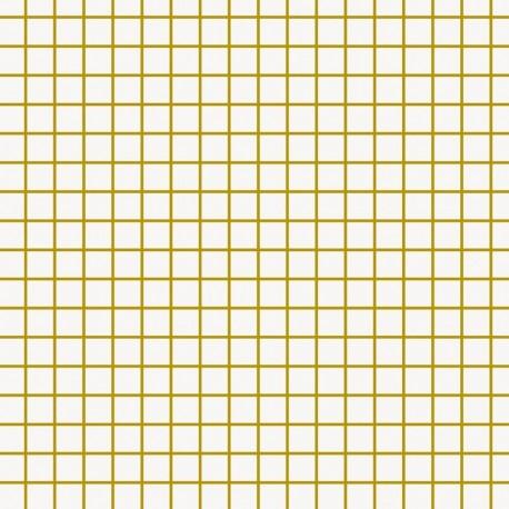 Tissu coton enduit Rico design Petits carreaux - doré/blanc x 10cm