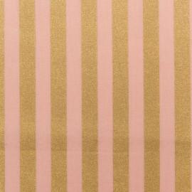 Tissu coton Rico design Rayures - rose/or x 10cm