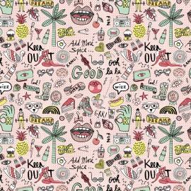 Tissu coton enduit brillant Rico design Cool girls - neon rose x 10cm
