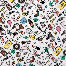 Tissu coton enduit brillant Rico design Icônes - blanc x 10cm