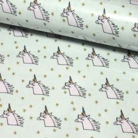 Rico design shiny coated cotton fabric Licorne - mint/gold x 10cm