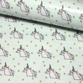 Tissu coton enduit brillant Rico design Licorne - menthe/doré x 10cm
