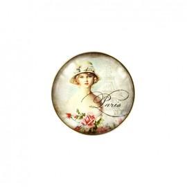 Bouton cabochon Paris postcard - dame