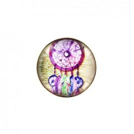 Dreamcatcher cabochon button - pink