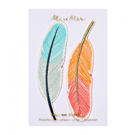 Meri Meri iron on patch - Feathers
