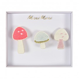 Embroidered brooches Meri Meri - Mushrooms