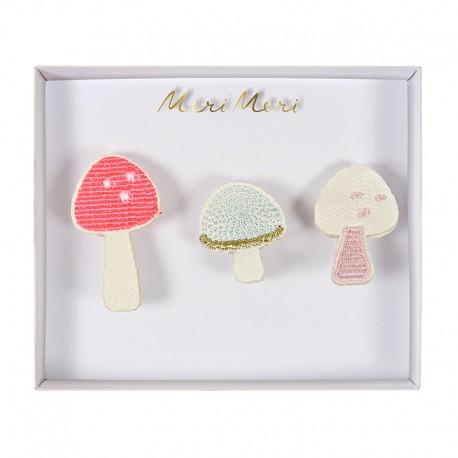Embroidered brooches Meri Meri - Mushrooms