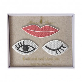 Broches brodées Meri Meri - Eyes & lips