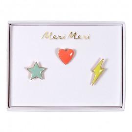 Meri Meri lapel pin - Star, heart, flash