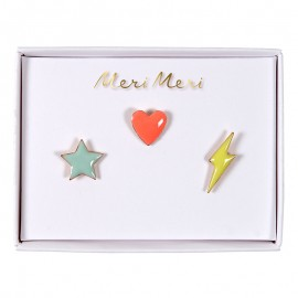 Pin's Meri Meri - Star, heart, flash