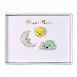 Meri Meri lapel pin - Sun, moon, cloud