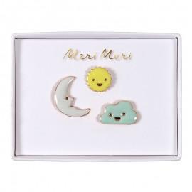 Meri Meri lapel pin - Sun, moon, cloud