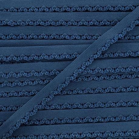 Petite pétale elastic ribbon 10 mm - blueberry blue x 1m