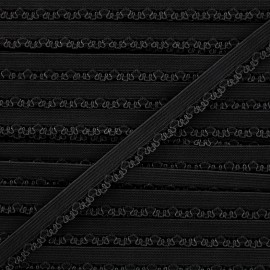 Ruban élastique Petite pétale 10 mm - noir x 1m