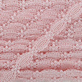 Petite amande guipure lace ribbon 15 mm - baby pink x 1m