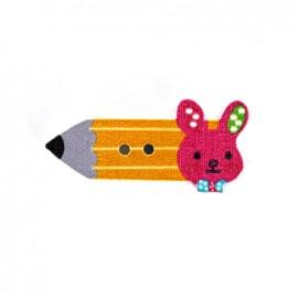 Bouton bois Crayon lapinou  - orange/rose