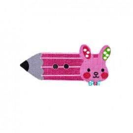 Bouton bois Crayon lapinou  - rose