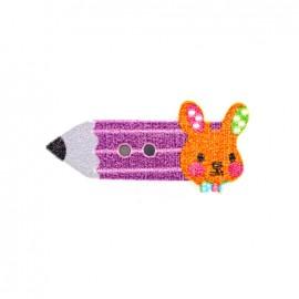 Bouton bois Crayon lapinou  - violet/orange