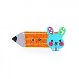 Bouton bois Crayon lapinou  - orange/bleu