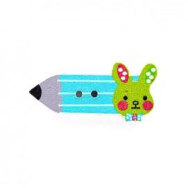Bouton bois Crayon lapinou  - bleu/vert