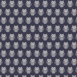 Makower UK cotton fabric Owls - night blue x 15cm