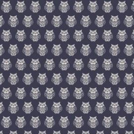 Makower UK cotton fabric Owls - night blue x 15cm