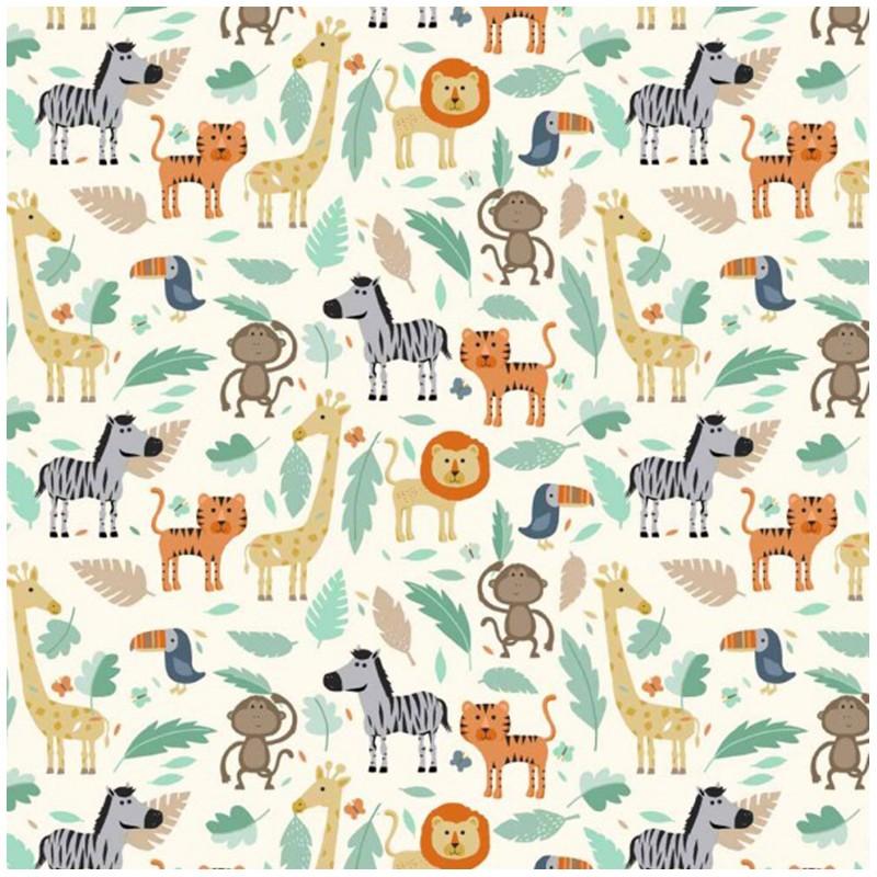 Makower uk cotton fabric baby jungle scenic white x 15cm for Baby fabric uk