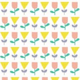 Tissu coton Makower UK Floral Spendor - orange x 10cm