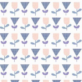 Makower UK cotton fabric Floral Spendor - blue x 10cm