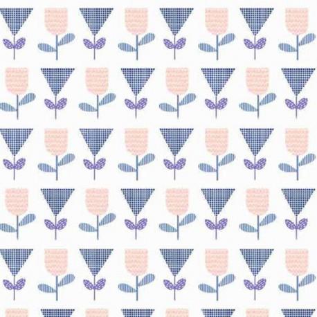 Makower UK cotton fabric Floral Spendor - blue x 10cm