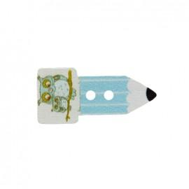 Bouton bois Crayon hibou  - bleu