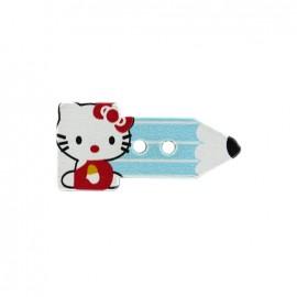Bouton bois Crayon hello kitty - bleu