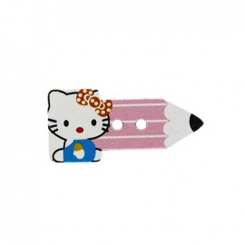 Bouton bois Crayon hello kitty - rose