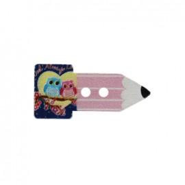Bouton bois Crayon hibou - rose
