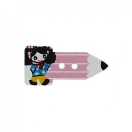 Bouton bois Crayon fillette - rose