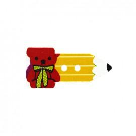 Bouton bois Crayon ourson  - jaune