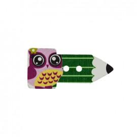 Bouton bois Crayon hibou - vert