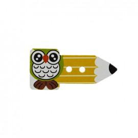 Bouton bois Crayon hibou  - jaune