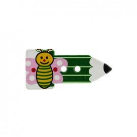 Bouton bois Crayon papillon  - vert