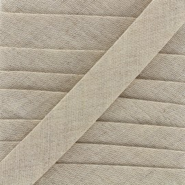 Plain bias binding 20mm - linen x 1m
