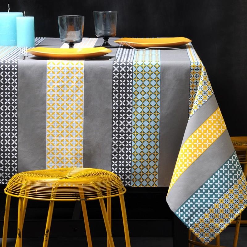 tissu enduit coton seelvy turquoise gris x 10cm ma petite mercerie. Black Bedroom Furniture Sets. Home Design Ideas