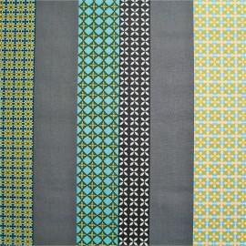 Coated cotton fabric Seelvy - turquoise/grey x 10cm