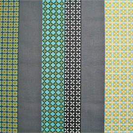 Tissu enduit coton Seelvy - turquoise/gris x 10cm