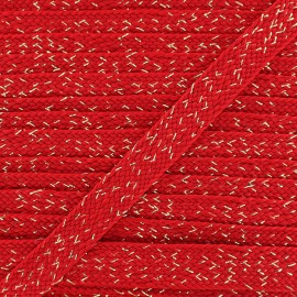 Carnaval flat braid cord - red/or