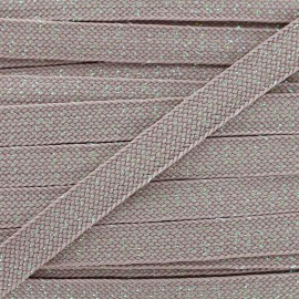 Carnaval flat braid cord - linseed grey/shiny